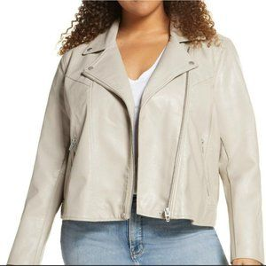 Blank NYC Life Changer Moto Jacket Faux Leather Fawn Size Large NWT